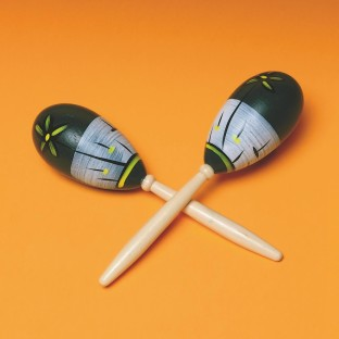 WOOD MARACAS SET OF 2
