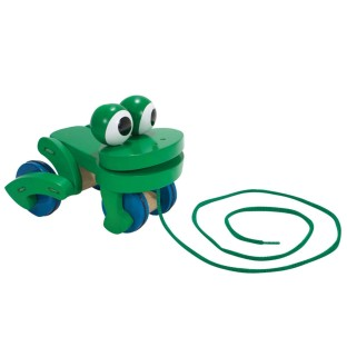 WOODEN TOY FROLICKING FROG PULL TOY