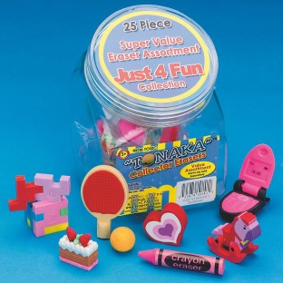 JUST FOR FUN ERASERS SET OF 25