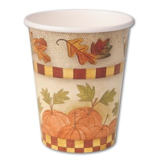 HOMESPUN HARVEST CUPS 9OZ PK8