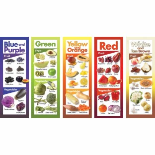 FRUITS AND VEGETABLES BY COLOR POSTER SET OF 5