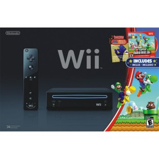 WII BLACK CONSOLE WITH SUPER MARIO BROTHERS PACK
