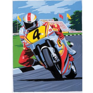 MED. PAINT BY NUMBERS MOTORBIKE RACING