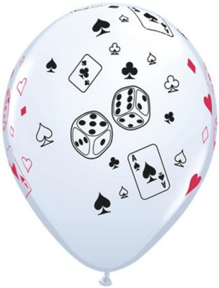 CARDS AND DICE BALLOONS PK100