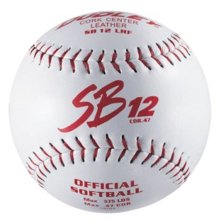 DUDLEY RED STITCH SB12LRF LEATHER SOFTBALL