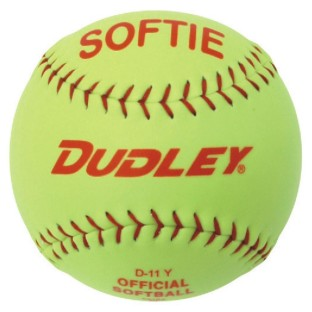 DUDLEY SOFTIE SOFTBALL 11IN YELLOW RED STITCH