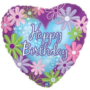Happy Birthday Twinkle Heart Mylar Balloons