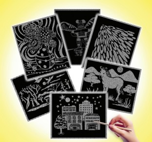 SCRATCH ART PATTERN PAPER ASSORTMENT PK/60