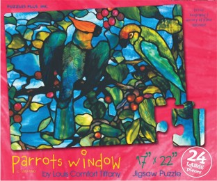 PUZZLE PARROTS WINDOW TIFFANY 24PC