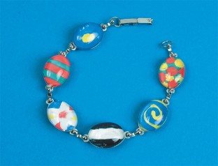 GIRLS PAINTED STONE BRACELET PK/12