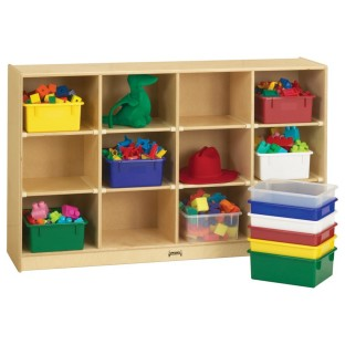 12-Tray Mobile Cubbie with Color Trays