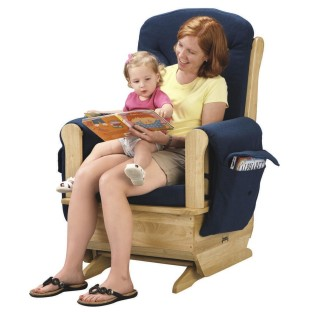 Glider Rocker Natural with Blue Cushion