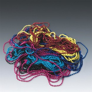 COLORED BEAD CHAIN 20 IN ASST. PK/24