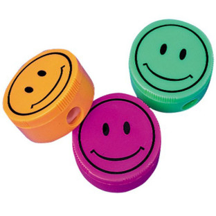 SMILEY FACE PENCIL SHARPENERS PK12