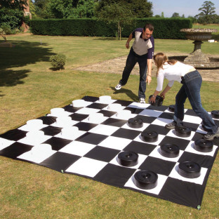 Easy to secure for outdoor checker fun.