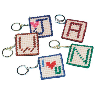 Allen Diagnostic Module Needlepoint Initial Key Rings