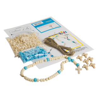 Rosary Bead Kit, Ivory and Blue