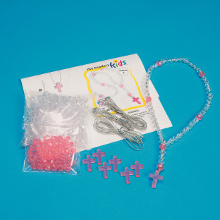 Rosary Beads Craft Kit, Crystal and Rose