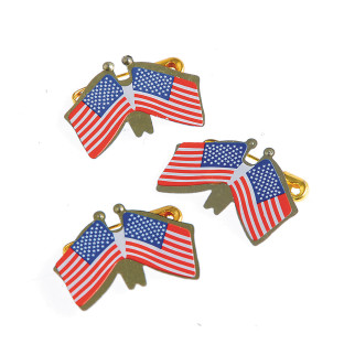 DOUBLE AMERICAN FLAG PINS PK48