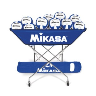 Mikasa® VQ2000 Blue/White Volleyballs with Cart Pack