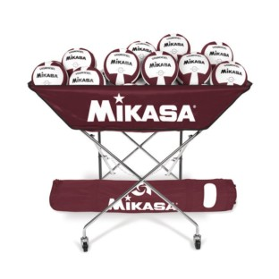 Mikasa® VQ2000 Maroon/White Volleyballs with Cart Pack