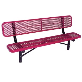 Permanent Steel Park Bench with Back
