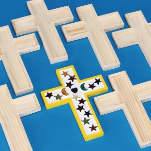 Unfinished Wooden Cross Tile Trivet