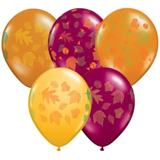 AUTUMN LEAVES 11IN LATEX BALLOON BAG 50
