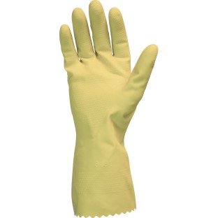 Yellow Flock Lined Latex Gloves Value Pack