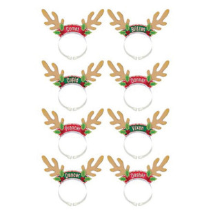 SANTAS REINDEER PACK HEADBANDS PK8
