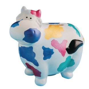 Color-Me™ Ceramic Bisque Cow Banks