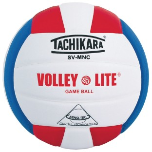 Tachikara® SV-MNC Leather Volleyball, Scarlet/White/Royal