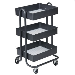 ECR4Kids 3-Tier Rolling Utility Cart with 3 Tub Shelves