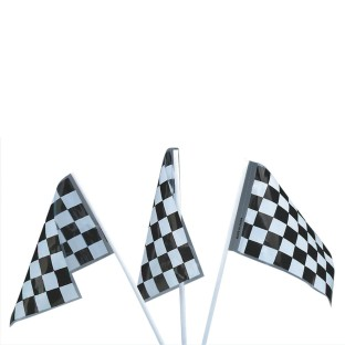 Black and White Plastic Checkered Racing Flags