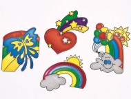 "Sun Catcher 3""x4"" - Hearts, Rainbows and Butterflies  (set of 12)"