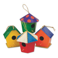 Papier Mache Mini Birdhouses  (pack of 12)