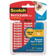 "Scotch® Removable and Reusable Clear Mounting Tabs, 1"" (pack of 27)"