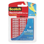 "Scotch® Removable and Reusable Clear Mounting Tabs, 1/2"" ( of 72)"