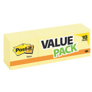 "Post-It® Notes 3""x3"" Yellow (pack of 18)"