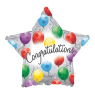 Congratulations Twinkling Star Mylar Balloons (pack of 10)