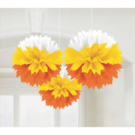 Candy Corn Fluffy Decorations (pack of 3)