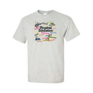 PE Action Words T-Shirt, Ash Grey