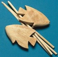 Unfinished Carved Wooden Fish and Dowels (pack of 24)