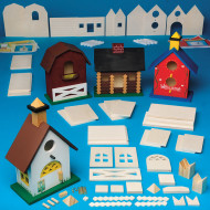 Unfinished D-I-Y Wood Birdhouses Craft Kit