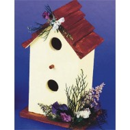 Unfinished Two Story Birdhouse With Shingles