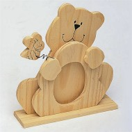 Unfinished Wooden Character Frame - Bear w/ Bee