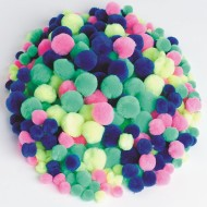 Pom Poms 2-1/2-oz. Bag - Neon Assorted Colors (pack of 150)
