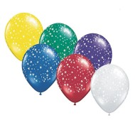 "11"" Stars Around Balloons, Assorted (bag of 50)"