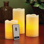 LED Pillar Wax Candles with Remote (set of 3)