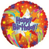 Happy Birthday Red Meteor Mylar Balloons (pack of 10)